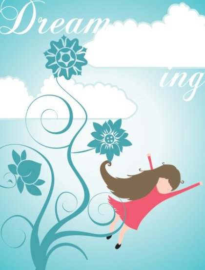 Dreaming Girl Free Vector