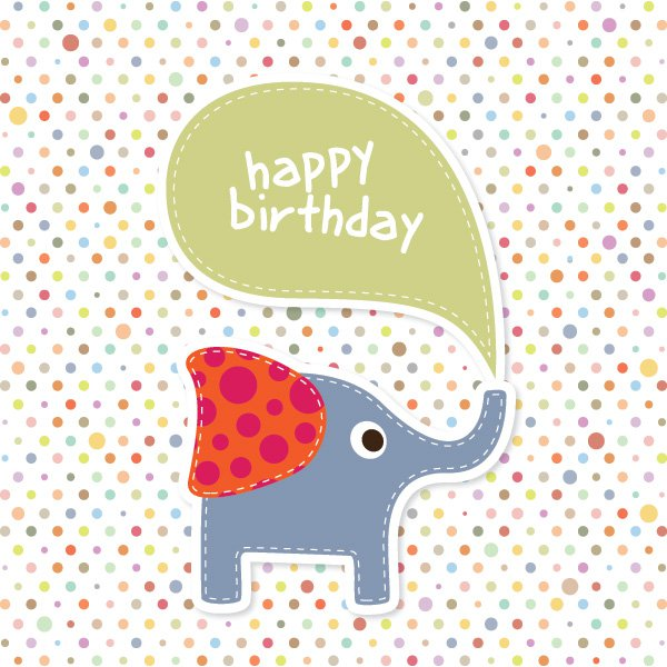 Elephant Birthday Card Free Vector