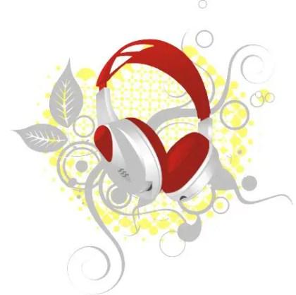 Floral Headphones Free Vector