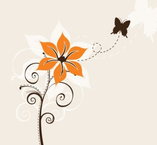Flower and Butterfly Free Vector
