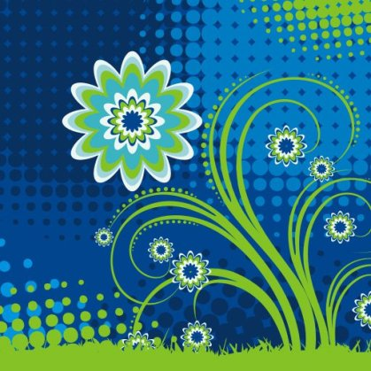 Flower in Blue Free Vector