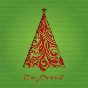 Green Christmas Card Free Vector