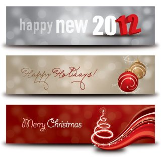 Happy Holidays Banners Free Vector