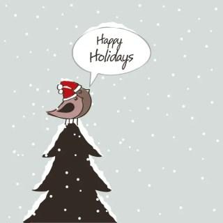 Happy Holidays Birds Free Vector