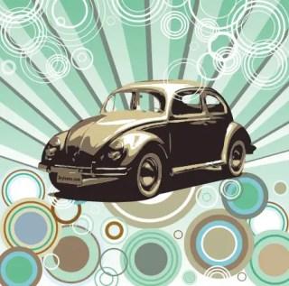 Hippie Beetle Free Vector