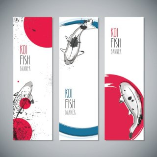 Koi Fish Banners Free Vector