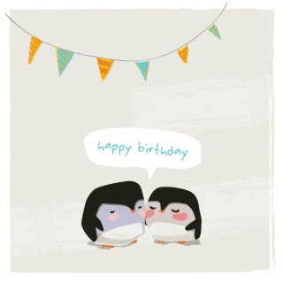 Penguins Birthday Card Free Vector