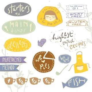 Recipe Stickers 2 Free Vector