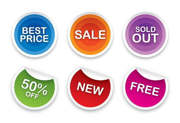 Sale Stickers Set Free Vector