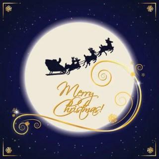 Santa Sleigh Moonlight Free Vector