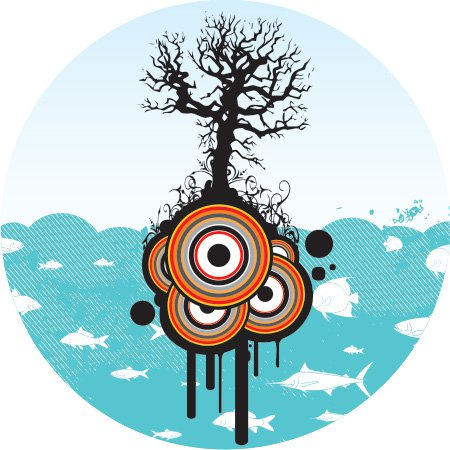 Sea life and a tree Free Vector