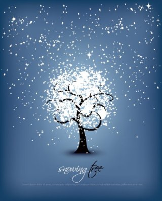 Snowing Tree Free Vector