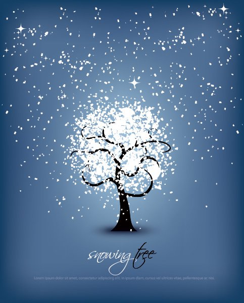 Snowing Tree Free Vector