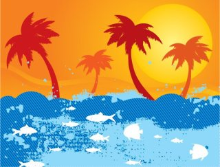 Sunny landscape Free Vector