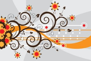 Swirls and Flowers Free Vector