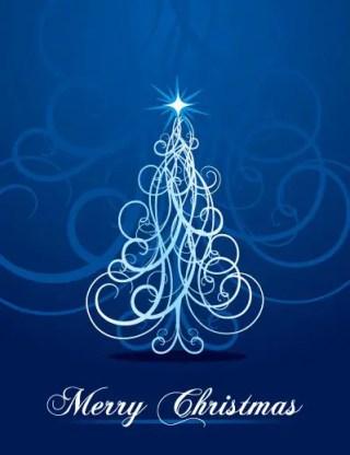 Swirly Christmas Tree Free Vector