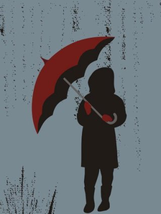 The girl and her umbrella Free Vector