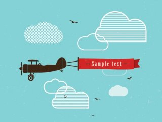Vintage Airplane Banner Free Vector