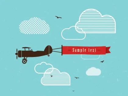Vintage Airplane Banner Free Vector