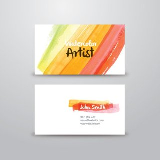 Watercolor Artist Business Card Free Vector