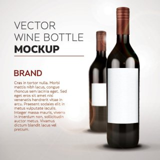 Wine Bottle Mockup Free Vector