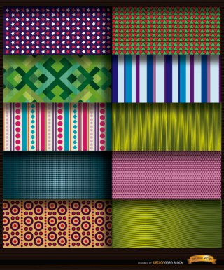 10 Abstract Patterns Backgrounds Free Vector
