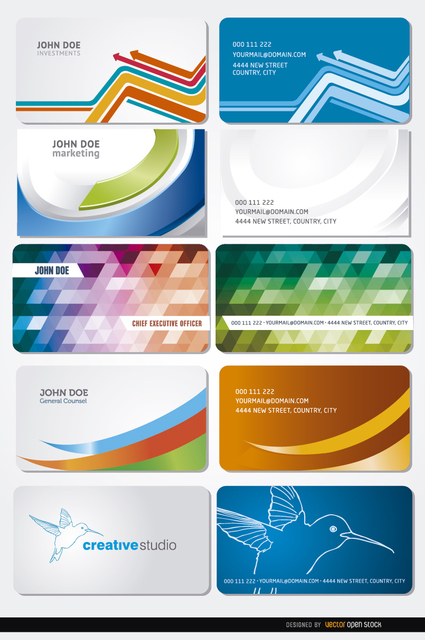 10 Curves Polygons Birds Business Cards Free Vector