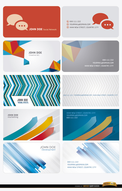 10 Modern Abstract Business Cards Free Vector