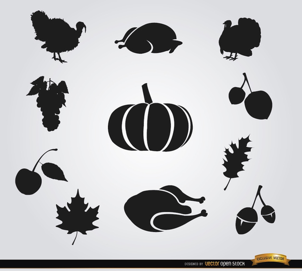 10 Thanksgiving Food Silhouettes Free Vector
