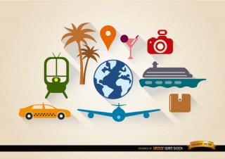 10 Travel Tourism Elements Set Free Vector