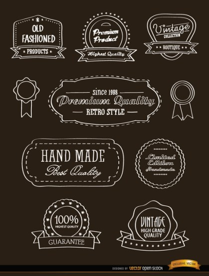 10 Vintage Ribbons and Seals Stickers Free Vector