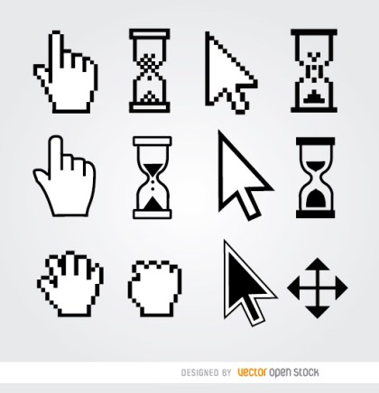 12 Cursor Hand Arrow Hourglass Free Vector