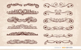 12 Swirl Ornaments Dividers Free Vector