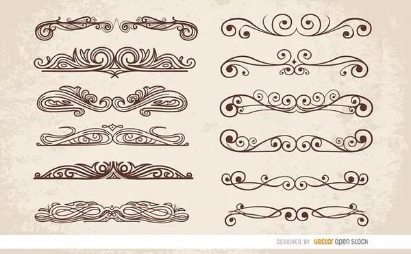 12 Swirl Ornaments Dividers Free Vector