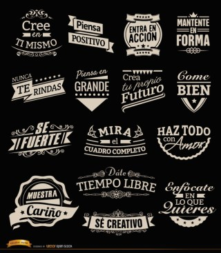 15 Motivational Vintage Labels Badges Spanish Free Vector