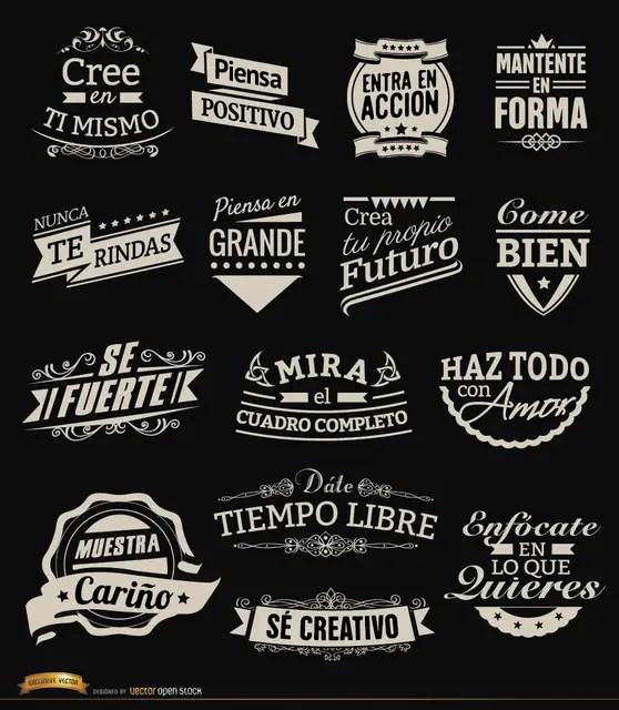 15 Motivational Vintage Labels Badges Spanish Free Vector