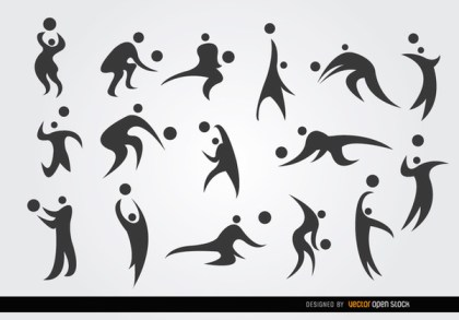 16 Volleyball Player Silhouettes Set Free Vector