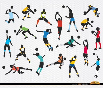 19 Silhouettes Of Volleyball Players Free Vector