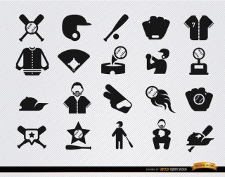 20 Baseball Flat Icons Set Free Vector