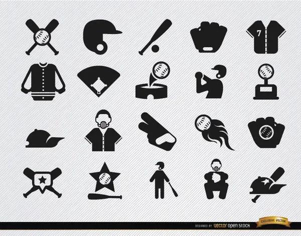 20 Baseball Flat Icons Set Free Vector