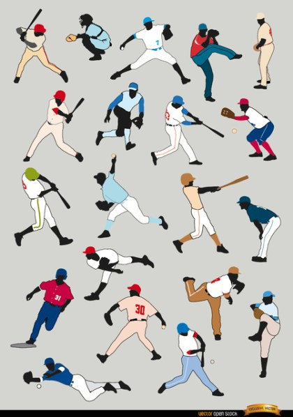 20 Baseball Players Silhouettes Free Vector