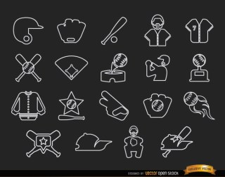 20 Baseball Stroke Icons Pack Free Vector