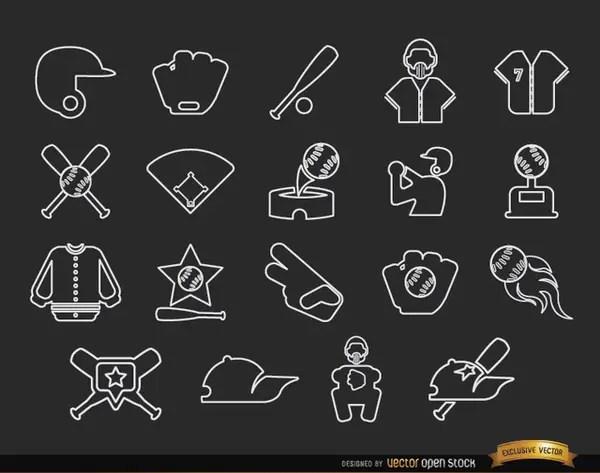 20 Baseball Stroke Icons Pack Free Vector