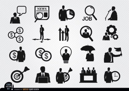 20 Businessman Icons Free Vector