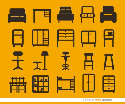 20 Furniture Flat Icons Set Free Vector