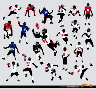 20 Silhouettes Of American Football Players Free Vector
