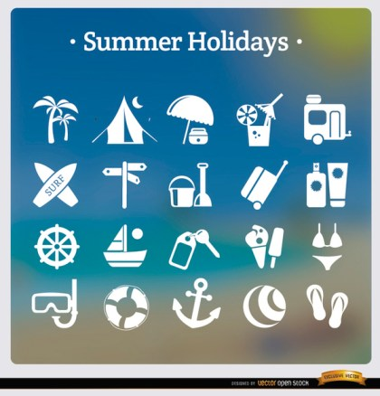 20 Summer Holidays White Icons Free Vector