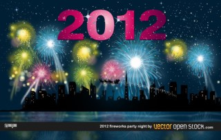 2012 Fireworks Party Night Free Vector