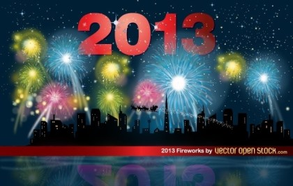 2013 Fireworks Night with Skyline Free Vector