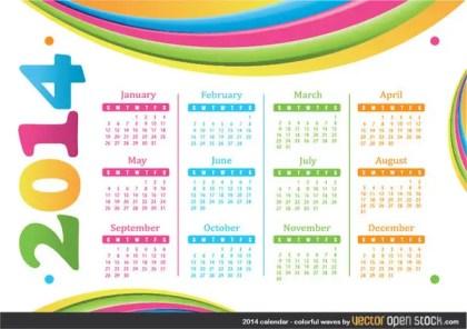 2014 Calendar – Colourful Waves Free Vector